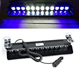 Automotive : Wecade 12w 12 Leds Car Truck Emergency Strobe Flash Light Windshield Warning Light (Blue/White/White/Blue)