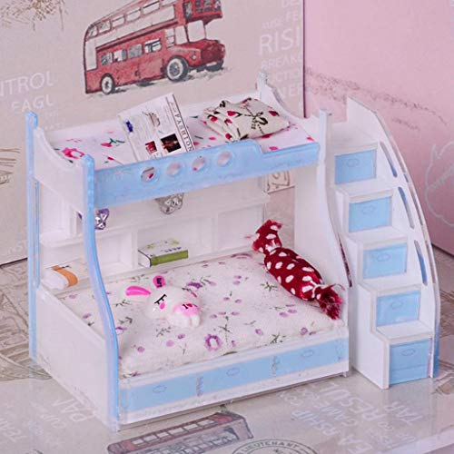 1/12 Miniature Children Bunk Bed Double Bunk Dollhouse Bedroom Furniture #3 from Brosco