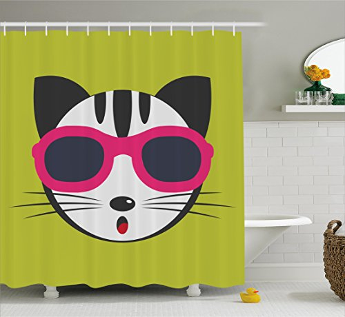 Animal Shower Curtain by Ambesonne, Cute Kitten Wearing Pink Sun Glasses Cool Modern Hipster Cat Fashion Fun Pets Art Print, Fabric Bathroom Decor Set with Hooks, 70 Inches, - Sunglasses Cat Wearing
