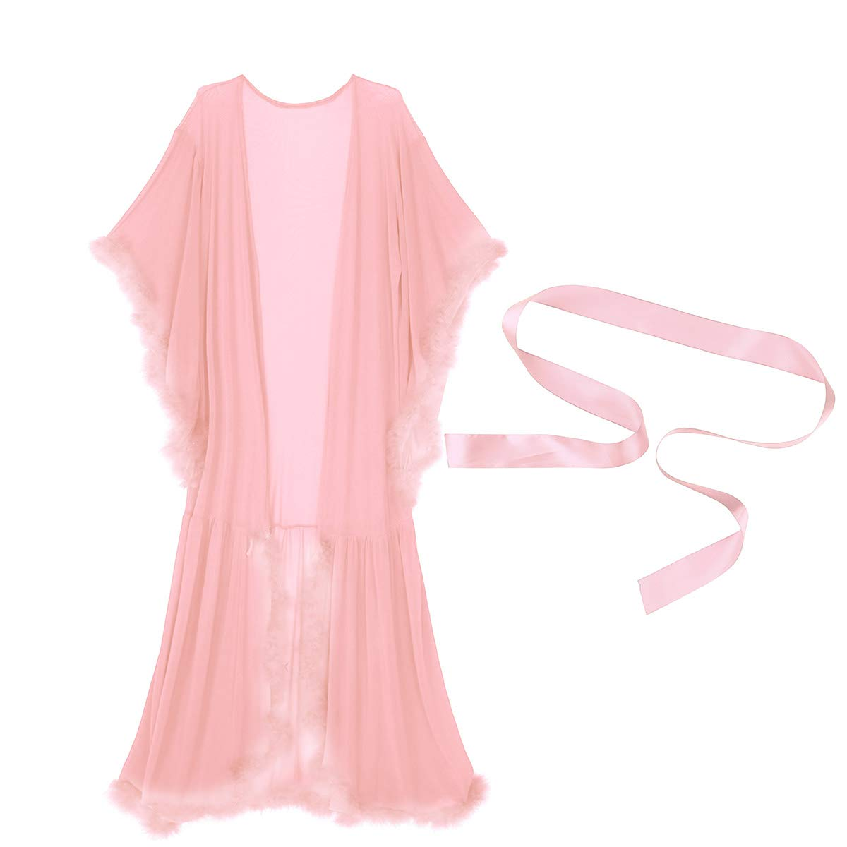 Amazon.com: TiaoBug Womens Sexy Sheer Long Lingerie Feather Robe Nightgown Bathrobe Pajamas Sleepwear Coral Pink One Size: Clothing