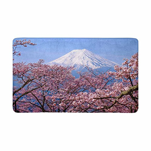 INTERESTPRINT Mt Fuji and Cherry Blossom in Japan Spring Season Front Door Mat 30 X 18 Inches Welcome Doormat for Home, Indoor, Entrance, Kitchen, Patio