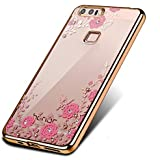 DORRON Honor 8 Gold - New Shockproof Luxury Bling Transparent Auora Little Flower Secret Garden Series Electroplated Edge Shining Sparkling Swarovski Crystal Diamond Impression Rhinestones Beautiful Unique Cute Fancy Slim Fit Light Weight Elegant Trendy Stylish Designer Soft TPU Back Case Cover For Huawei Honor8 - Gold with Pink Flower