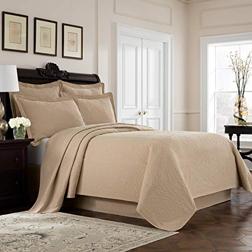MISC Khaki Tan Matelasse Coverlet King Lightweight Embroidered Bedding Textured Floral Scrollwork Trellis Classic Cotton 96x108, 1 ()