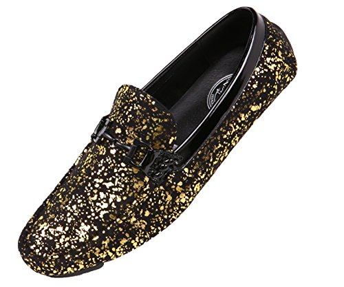 Amali Mens Metallic Splatter Black Microfiber Nightclub Driver, Slip On Loafer Driving Shoe with Ornament ()