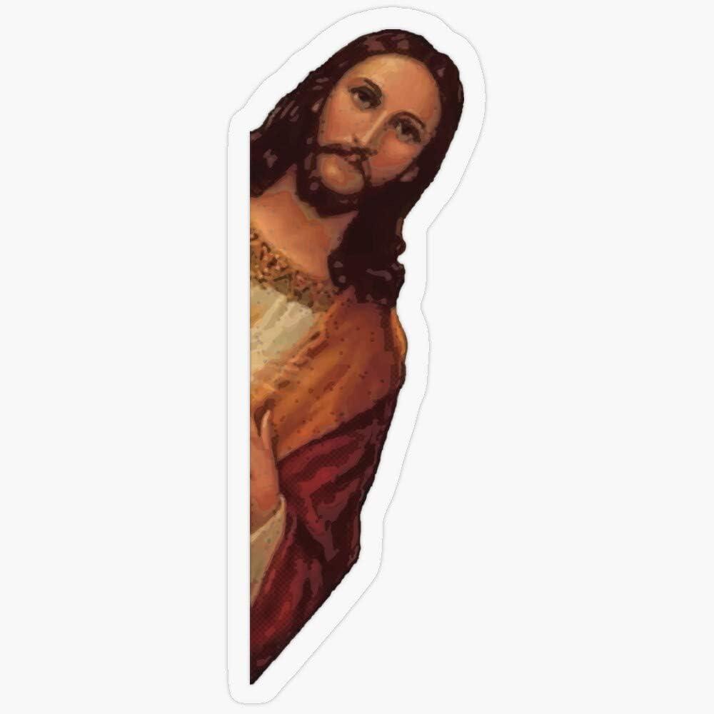 "Lplpol Stickers Jesus is Watching Meme Gift Decorations 5.5"" Vinyl Stickers, Laptop Decal, Water Bottle Sticker"