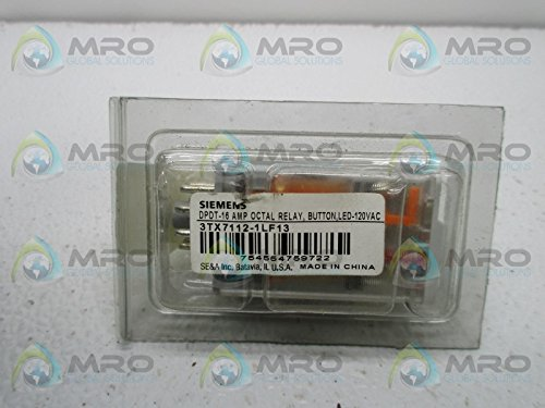 Siemens 3TX7112-1LF13 Premium Plug In Relay, Standard Octal Base, Mechanical Flag, Push To Test, Lock Down Door, LED, DPDT Contacts, 16A Contact Rating, 120VAC Coil (Octal Base)