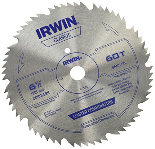 IRWIN Tools Classic Series Steel Cordless Circular Saw Blade, 6 1/2-inch, 60T, .078-inch Kerf (11220)