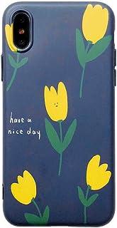 ERQINGT Etui pour Téléphone Portable Fleur Littéraire Simple pour Iphone6S Coque De Téléphone Portable 7 / 8Plus Mat Soft Shell Apple 10X Tout-Inclus Housse De Protection