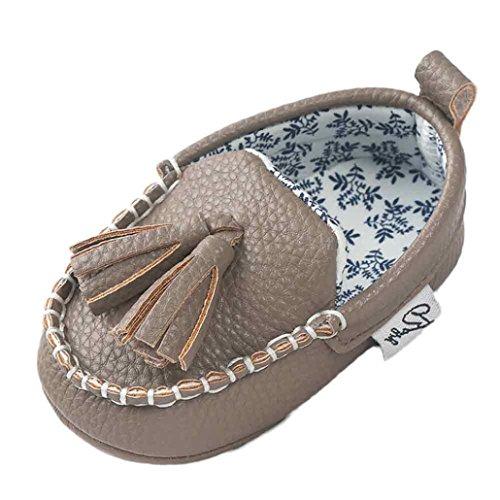 Jamicy® Baby Mädchen Jungen weichen Sohle Leder Schuhe niedlich weichen unteren Wohnungen Krippe Schuhe Grau
