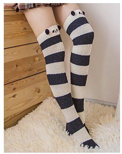 Bopstyle Christmas Soft Warm Socks Coral Velvet Knee High Stockings for Girls Gift (Panda) (Panda Wool)