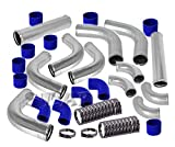 """2.5"""" inch 12pc Universal Custom Piping Kit + 3 Ply Coupler Hose + T-Bolt Clamp (Chrome Piping Blue Coupler)"""