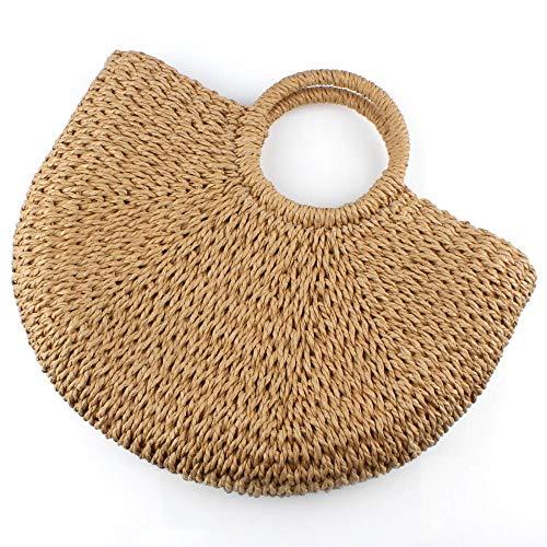 Handle UNYU for Ladies Handbag Hobo Handbag Cotton Summer Top Brown Beach Straw Shoulder Tote Womens Hand Female Girls Lining woven Bag OUar1wOxq