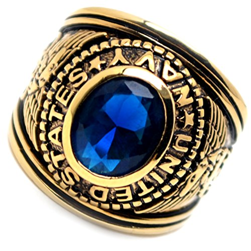 Accents Kingdom Gold Plated Men's US Navy Military Ring Blue Montana CZ Size 9 ()