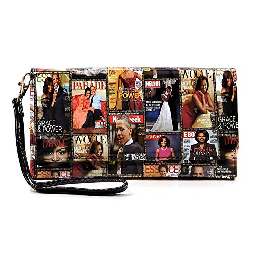 Glossy magazine cover collage Michelle Obma printed crossbody wallet purse with wrist band (Multi)