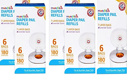 Snap Seal - Munchkin Arm & Hammer Diaper Pail Snap with Seal and Toss Refill Bags, 12 Count