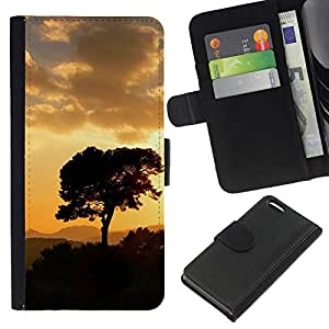 Ihec-Tech / Flip PU Cuero Cover Case para Apple iPhone 5C - Sunset Tree Beautiful Nature 5