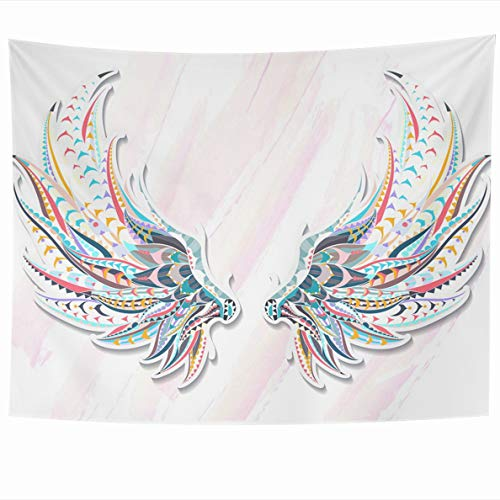 Ahawoso Tapestry 60 x 50 Inches Eagle Watercolor Abstract Patterned Wings African Indian Totem Sketch Tattoo It May Be Angel Drawing Wall Hanging Home Decor Tapestries for Living Room Bedroom ()