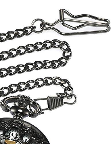 AMPM24 Women Men's Dad Black Dangle Pendant Pocket Quartz Watch Gift + Chain WPK051 by KS (Image #6)