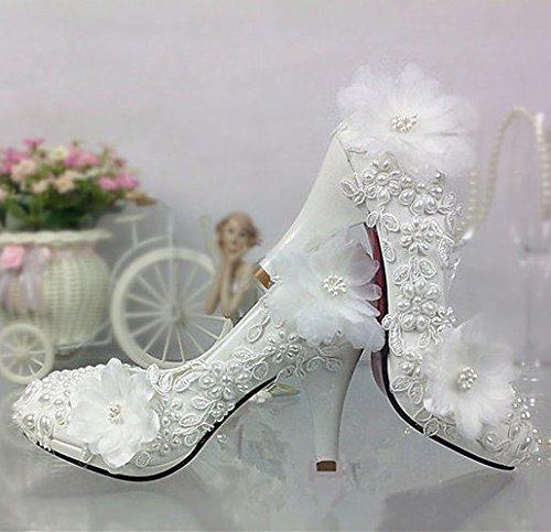 JINGXINSTORE Spitze Spitze Spitze weiß elfenbein Perlen Hochzeit Schuhe Braut Wohnungen Low High Heel Pump Größe 5 12 0f6b7b