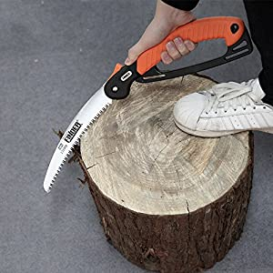 Heavy Duty Professional Folding Pruning Saw with 9-inch Curved Blade, Best Folding Hand Saw for Pruning Trees, Trimming Branches, Camping, Clearing Forest Trails.