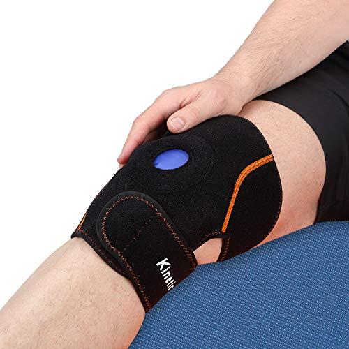 Kinetic Labs Knee Ice Pack Wrap - Reusable Hot/Cold Therapy Gel Pack - Injury Rehab, Sport Comfort, Promote Natural Movement - Elbow/Knee Strap Brace Support with Adjustable Compression Sleeve