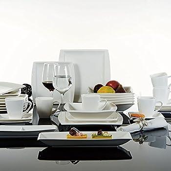 Malacasa Series Blance 32-Piece Ivory White Porcelain China Dinner Set with 6 & Amazon.com | Malacasa Series Blance 32-Piece Ivory White Porcelain ...