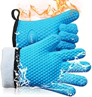 Loveuing Kitchen Oven Gloves - Silicone and Cotton Double-Layer Heat Resistant Oven Mitts/BBQ Gloves/Grill Gloves -...