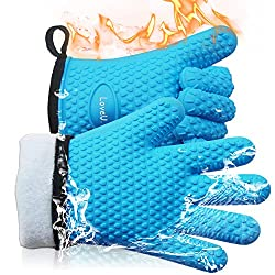 Loveuing Bbq Oven Gloves Silicone And Cotton Double Layer Heat Resistant Gloves Silicone Gloves Oven Gloves Bbq Gloves Perfect For Baking And Grilling 1 Pair One Size Fits Most Blue