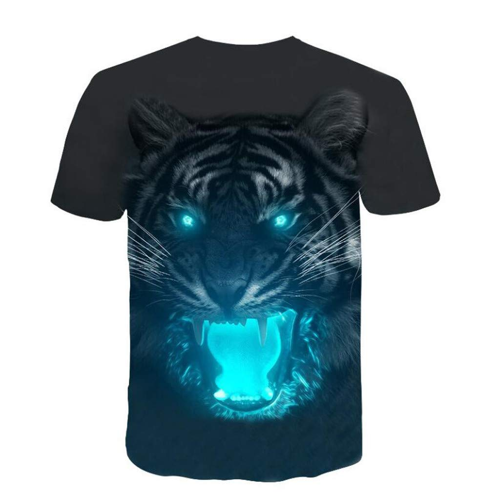 Men 3D Printing T-Shirt,Jchen Summer Mens Teen Boys 3D Tiger Print Casual Funny Tees Shirt Tops (L/US/EU Size:M, Black) by Jchen Men T-shirt (Image #3)
