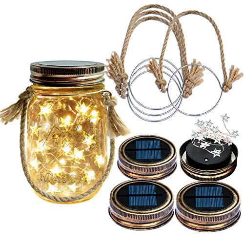 Homeleo 4-Pack Vintage Solar-Powered Mason Jar LED Lights w/Lids Handmade Burlap Hanger for Outdoor Spring Garden Summer Patio Backyard Cemetery Grave Decor(Warm Light,Jars NOT Included)