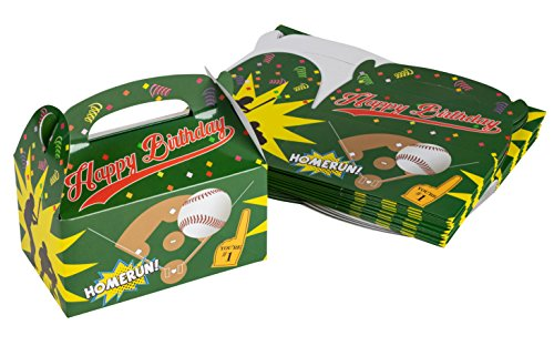 Treat Boxes - 24-Pack Paper Party Favor Boxes, Baseball Design Goodie Boxes for Birthdays and Events, 2 Dozen Party Gable Boxes, 6 x 3.3 x 3.6 inches