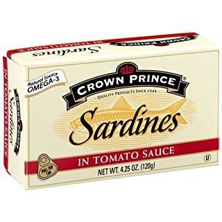 Crown Prince Sardines in Tomato Sauce, 4.25-Ounce Cans (Pack of 12)