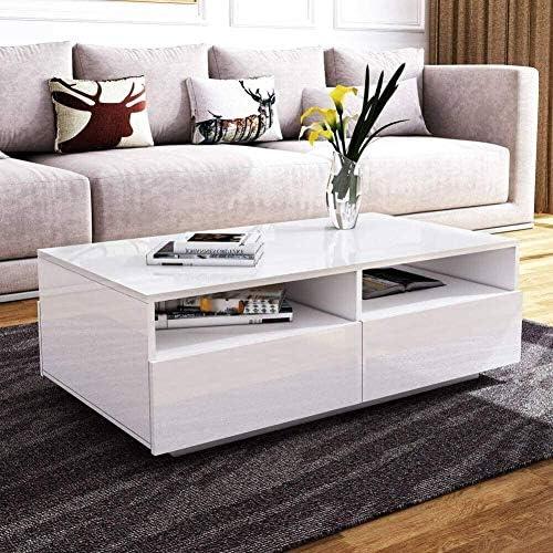 Adviseren Ausla Salontafel, salontafel van hout, witte tafel met meerdere plaatsen, elegant en modern design en functionaliteit, 85 x 56 x 35 cm  jNUISWu