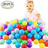 FINGOOO Phthalate Free Fun Crush Proof Balls Soft PE Air-Filled Ocean Ball Play Balls Pit Balls for Baby Kids Tunnel/Tent/Pool/Swim Jump House Pack of 210