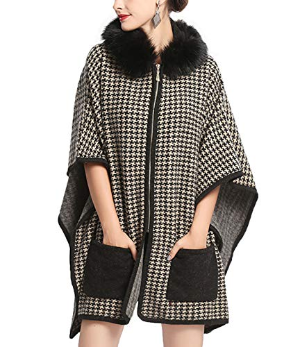 Gihuo Women's Warm Faux Fur Hooded Cloak Houndstooth Wool Coat Poncho Sweater Cape (One Size) Khaki