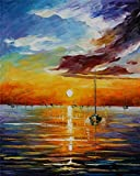 100% Hand Painted Oil Paintings on Canvas Modern Abstract Paintings Reproductions Sunset and Sailing Home Decor (20X25 Inch, Decor 7)