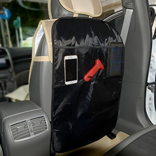 autofay kick mats back seat protector w storage organizer pocket universal fit for car truck. Black Bedroom Furniture Sets. Home Design Ideas