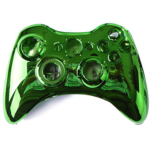 HDE Controller Shell for Xbox 360 Green Chrome Shell Case Wireless Gaming Replacement Cover Kit