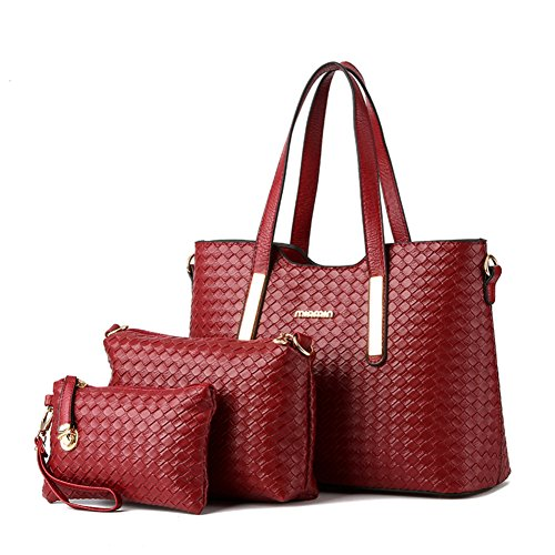 Women Pu Leather Weave Handbag Purse Bag Set 3 Pieces Tote Bag Set Shoulder Bags Big Capacity Cross Body Bag Wine Red SILI