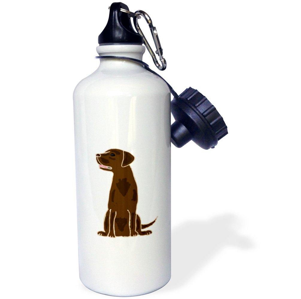 3dRose wb/_200099/_1 Cute Artistic Chocolate labrador Retriever Puppy Dog Sports Water Bottle 21oz Multicolored