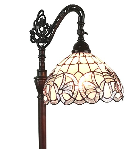 Amora Lighting AM283FL12 Tiffany Style Floral Design Floor Reading Lamp, White