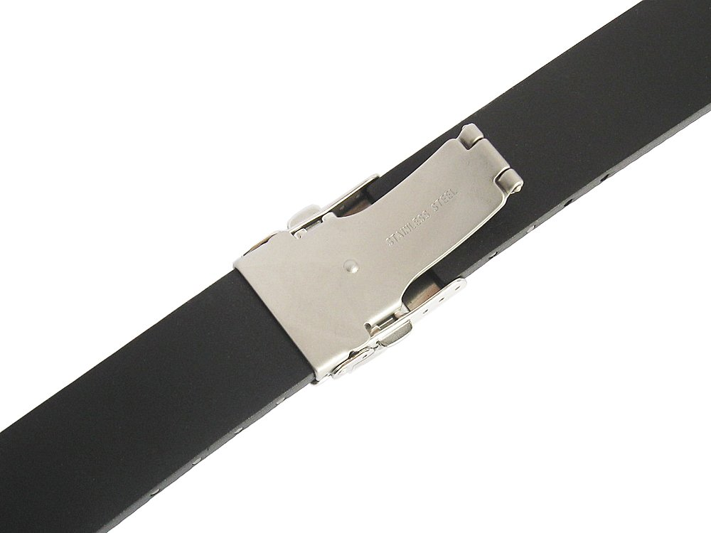 Bonetto Cinturini 22mm Black Rubber Watch Strap Model 300D