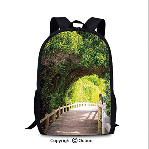Travel Waterproof Backpack, Nature Boardwalk Through Green Archway Bridge Foliage Trees Sunny, School Bag :Suitable for Men and Women, School, Travel, Daily use, etc.Beige Green Brown