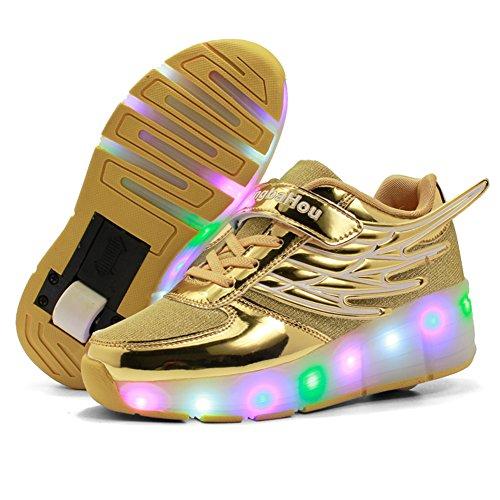 Zosyns Kinder Schuhe mit Rollen LED Skateboardschuhe Kinder Rollschuhe Jungen Mädchen Turnschuhe Sportschuhe Laufschuhe Sneakers Trainer mit Rollen Licht 28-39 Gold