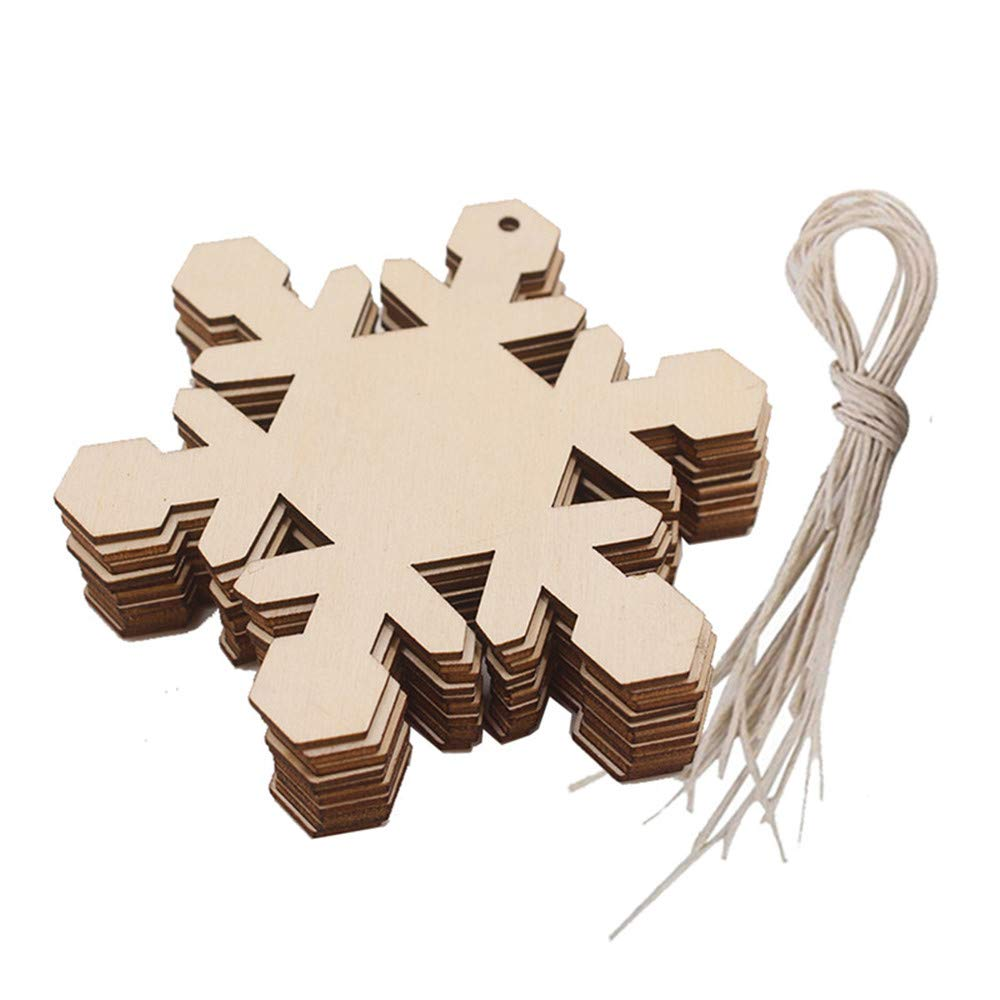 Christmas Wood Pendant Hanging,Lovewe 10pcs Wooden Pendant Christmas Decorations Children's Home Decoration Gifts (C)