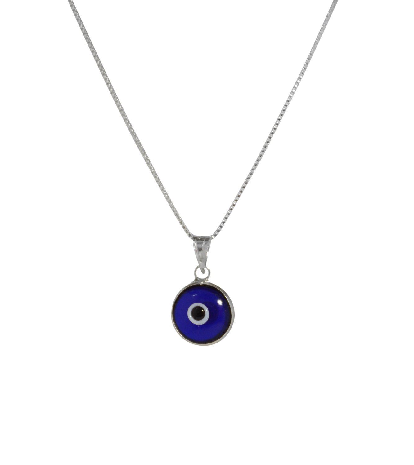 MIZZE Made for Luck Silver Evil Eye Necklace with BLUE Glass Evil Eye Charm - 925 Sterling Silver 19 Inch Box Chain