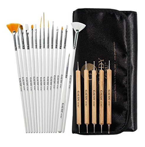 20pc Professional Nail Art Design Painting Detailing, Marbleizing Brushes, Striper & Dotting Pen / Dotter Tool Kit Set with Storage Bag by Gaudy Guru