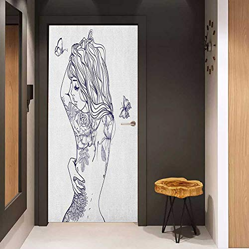 Onefzc Door Sticker Mural Tattoo Sexy Woman with Floral Butterfly Beauty Leaves Botanical Figures on Her Back WallStickers W35.4 x H78.7 Dark Purple - Tattoos Celtic Butterfly
