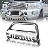 """Mircopower 3"""" Bull Bar Skid Plate Front Push Bumper Grill Grille Guards Brush Chrome Stainless Steel Fit 2005-2015 Toyota Tacoma"""