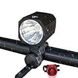 Whaitfire Super Bright Bicycle Light Set, Cree XM-L2 LED 1200 Lumen Waterproof Bike Headlight, Front Lamp Flashlight and Taillight for Cycling Safety For Sale
